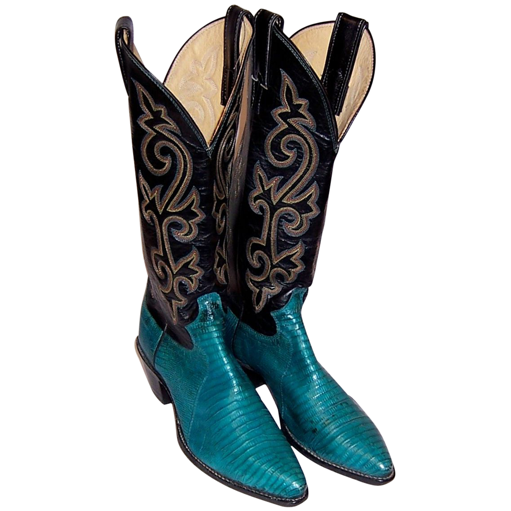 Justin Cowboy Boots Turquoise Lizard Amp Black Leather From