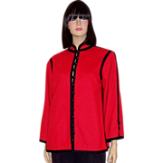 Yves Saint Laurent-Rive Gauche-Red and Black Jacket