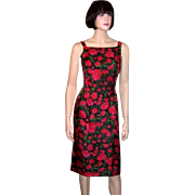 1960's Fitted Sleeveless Dress with Red Florals