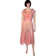 1920's Crisp Pink Organdy Dress with Interesting Details