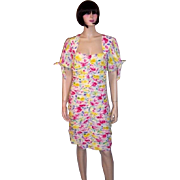 Emanuel Ungaro Parallele Paris-White Floral Printed Dress with Ruching