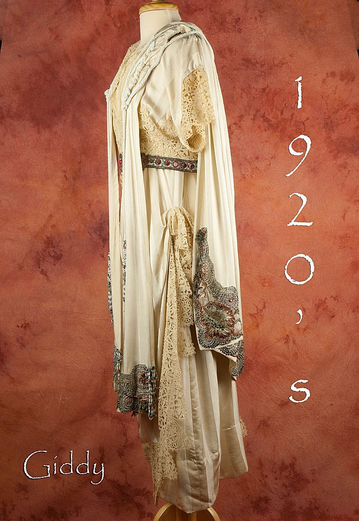 French Silk & Lace Dress & Cape  Beaded  Masterpiece, ca 1920