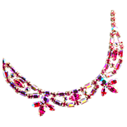 Sherman Fuchsia  Pink Rhinestone Necklace