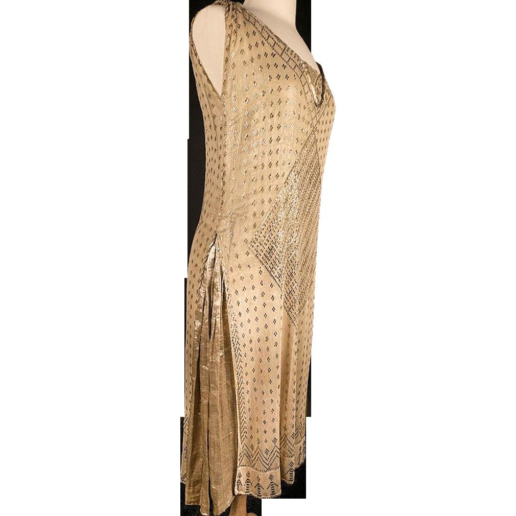 1920's Gold Lame & Assuit Shawl Layered Dress *Great Sz