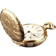 14k Gold Women's Double Case Pocket Watch Engraved 1930's