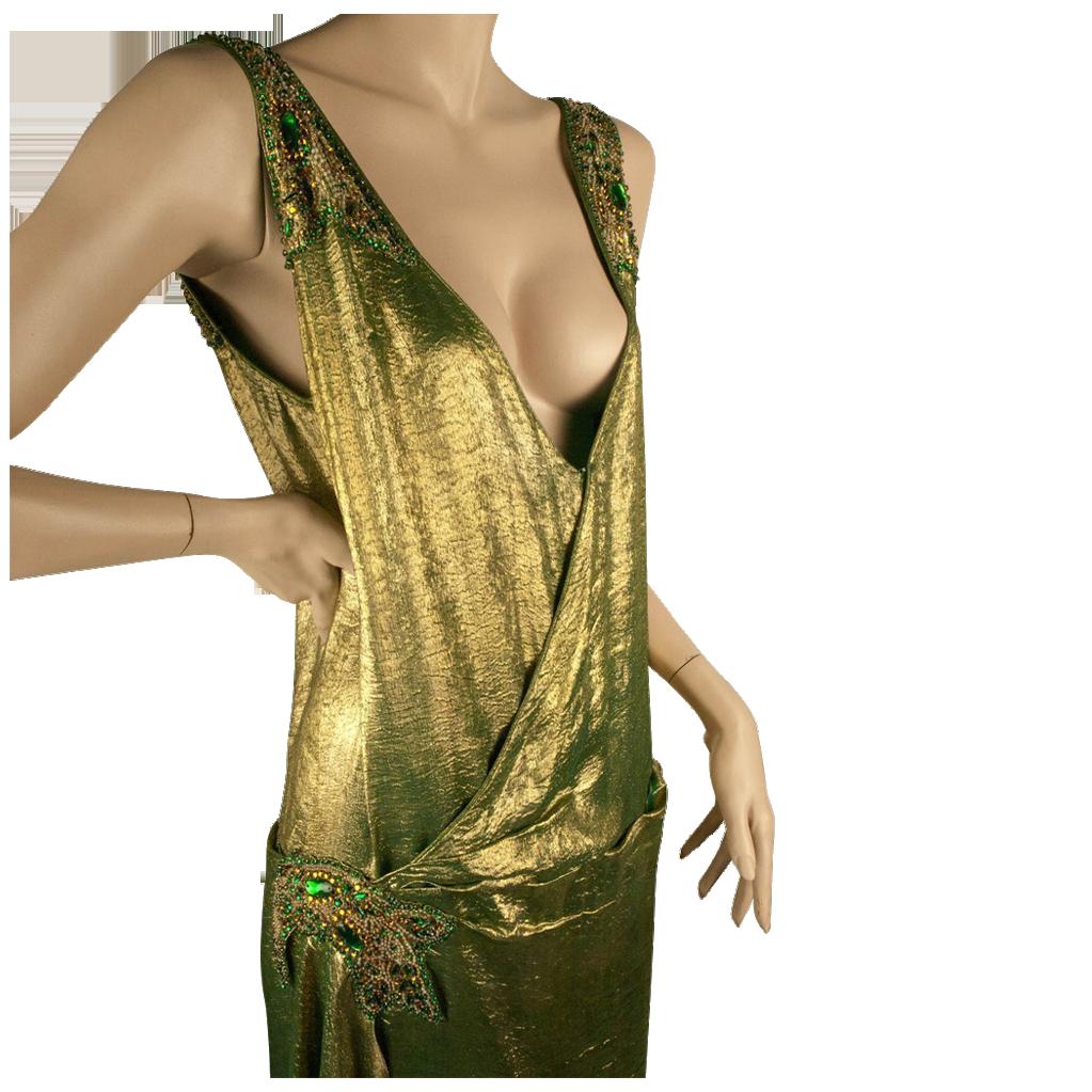1920s Gold Lame Beaded Dress Great Sz