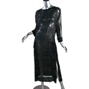 1920's Black Chiffon Faceted Steel Beaded Flapper Dress