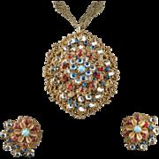 Miriam Haskell Pendant Brooch 7 Filigree Layers Earrings 1950's