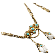 Antique Georgian Necklace Turquoise & White Coral