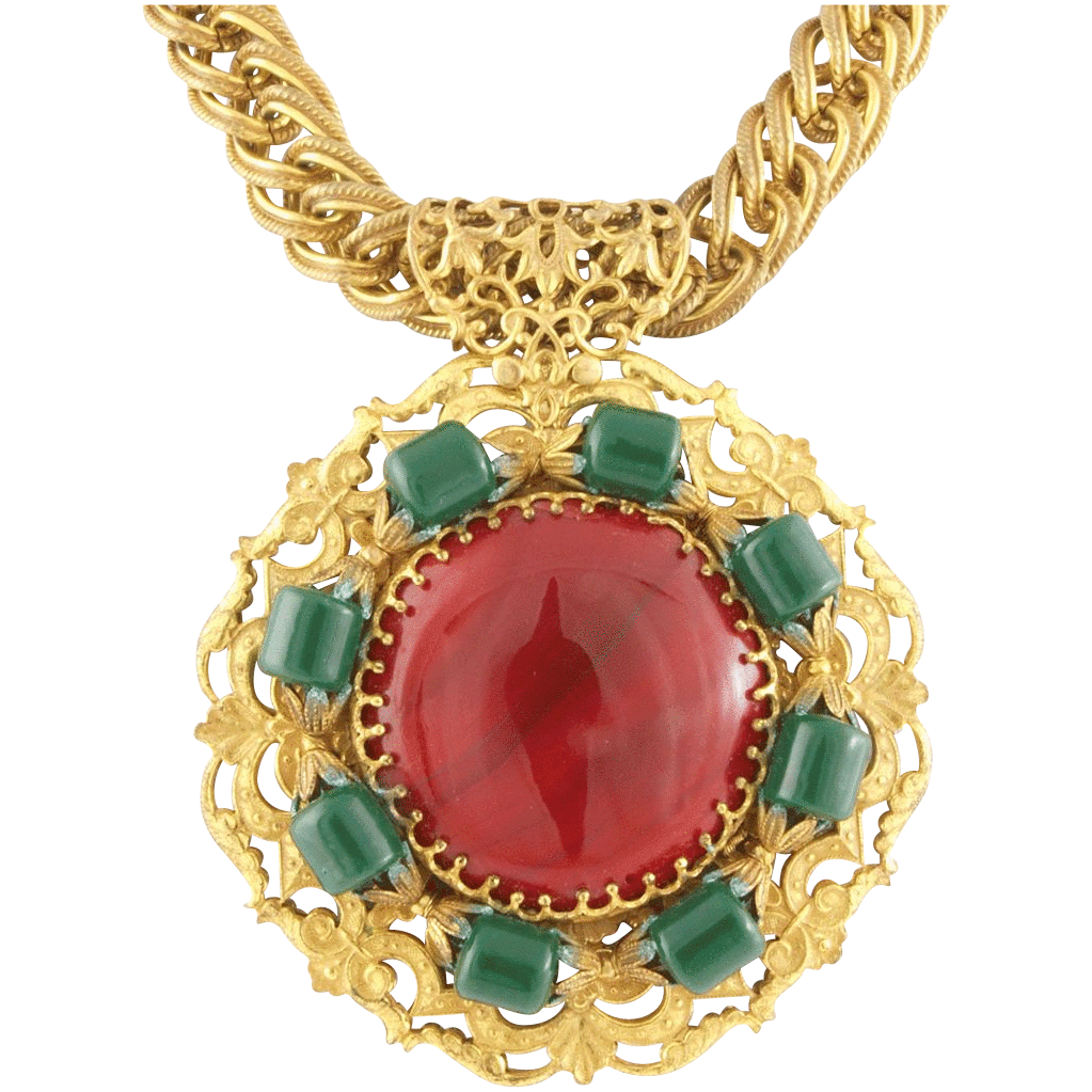 Miriam Haskell 1970's Large Necklace Larry Vrba