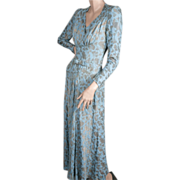 1930's Metallic Gold  Silk Matelasse Gown Small
