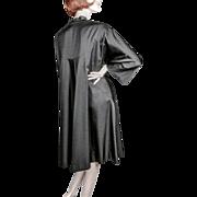 Irene Black Silk Faille Swing Coat Late 1940's