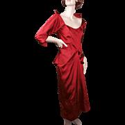 Ceil Chapman Regal Red Silk Faille Cocktail Dress 1950's