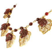 1930's Miriam Haskell Crystal Ruby and Gold Filigree Leaf Necklace