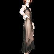 1930's Black Silk Chiffon Gown