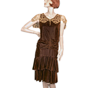 1920's Silk Chiffon Velvet Brown Dress Tape Lace Collar