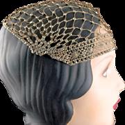 1920's Flapper Rhinestone Metallic Gold Crocheted Evening Cap