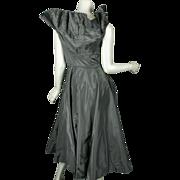1950's Ceil Chapman Black Taffeta Pleated Dress