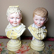 """Fabulous Antique German Porcelain Matching Busts of Boy and Girl-10"""" Tall"""