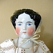 "Huge German China Head Doll -32"" Tall"