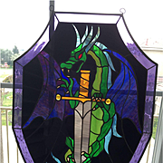 Fantastic Stained Glass with Dragon!!