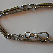 Chased 14k White Gold Watch Chain