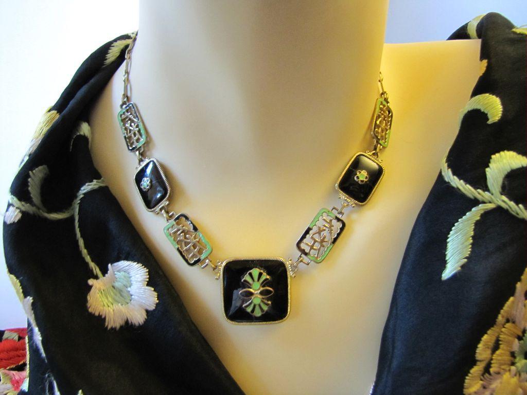 Rare Art Deco Czech Enamel on Necklace and Bracelet Set - green, black enamel on brass