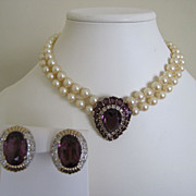 Panetta Signed Suite Faux Pearl Amethyst Choker Necklace and Clip Earrings