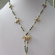 Art Deco Style Flapper Jungle Animal Charms Necklace Gold on Silver Malachite Beads