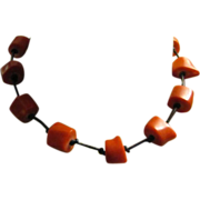 Vintage Red Coral Chunks Hand Knotted with Leather Necklace Choker