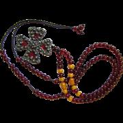 Antique Plique-a-Jour Silver Cross Pendant on Vintage Cherry Amber Bakelite Necklace