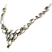 Vintage Magical Moonstone Necklace with 17 Large Water Clear Moonstones in Sterling Silver Setting