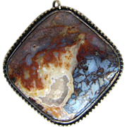 Large Vintage Scenic Agate Pendant Handcrafted in Silver