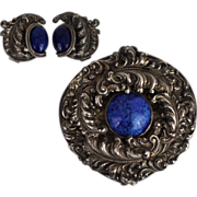 1950's Napier Silver Baroque Scroll Very Large Pendant and Earrings Set with Lapis