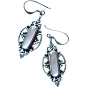 Romantic Antique Silver Pendant Dangle Earrings with Pink Stone