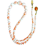 """Vintage Natural Undyed Angel Skin Coral Necklace 19.5"""" Long 26.6 grams Graduated from 11 mm to 3.5 mm"""