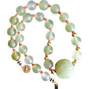 Chinese Hand Carved Serpentine Large Bead on Green Stone Beads Necklace with Antique Mediterranean Coral 10 karat and 14 karat Gold Beads
