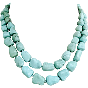 Vintage 1960's Chinese Turquoise Baroque Knuckle Bone Double Strand Beads Necklace 75.4 grams