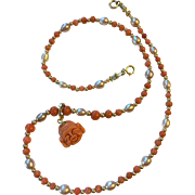 Lovely Natural Undyed Coral Gold Necklace with Carved Laughing Buddha Coral Pendant 14 K Gold Enhancer