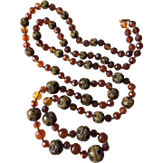 """Art Deco Flapper Necklace 48"""" Long with Amber and Celluloid Carved Beads"""