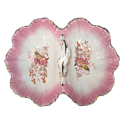 Porcelain Basket Style Divided Dish in Pink Flowers
