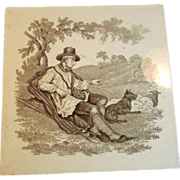 Village Life Scene, Victorian Transfer by Mintons China Works