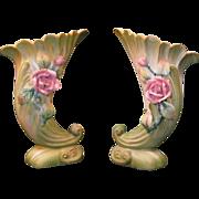 Pair of Lefton Cornucopia Vases