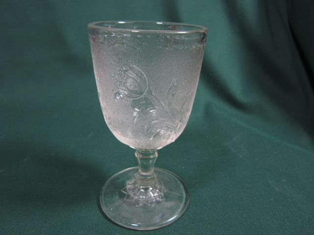 "EAPG Goblet ""Rose In The Snow"" Pattern"