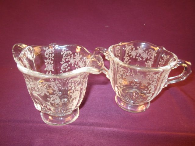 "Fostoria ""Meadow Rose"" Individual Footed Sugar and Creamer"