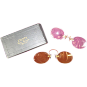 2 Pince-Nez Frame-less Lenses, Zylbex Eye Glass