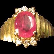 Ruby & Diamonds Ring in 14K Gold