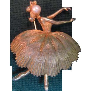 BSK Vintage Signed Ballerina Pin