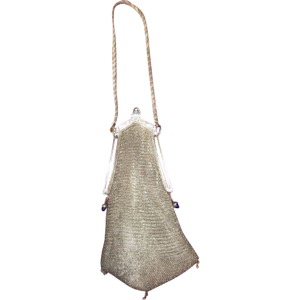 Mesh Purse with Cathedral Frame Silver tone