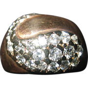 Gold dome ring with Diamonds